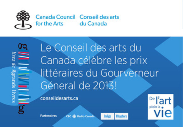 Conseil des arts du Canada - Prix littéraires du Gouverneur général. (Groupe CNW/Conseil des arts du Canada)