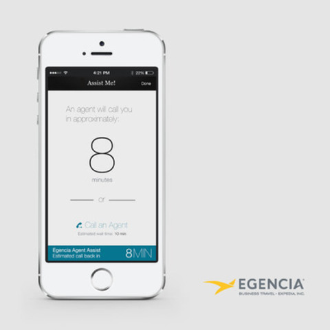 "Egencia® TripNavigator offers a standard 'click to call' functionality that is available to travelers worldwide. For select travelers in the U.S., the app also offers a ""Callback"" option under Egencia® AssistMe that gives Egencia Travel Consultants additional information about mobile callers ahead of the call for immediate engagement. (CNW Group/Egencia)"
