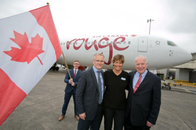 Air Canada rouge Manchester 7 - Air Canada rouge celebrates the inaugural flight from Manchester to Toronto on 27 June 2014. Left to right: Kevin Rogers, Area Sales Manager, Air Canada; Andrew Harrison, Managing Director, Manchester Airport; Renee Smith-Valade, Vice President Customer Experience, Air Canada rouge; and Robert Atkinson, General Manager UK, Ireland and Northern Europe, Air Canada (CNW Group/Air Canada rouge)