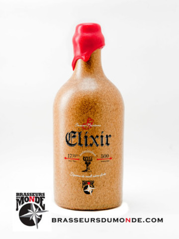Élixir, launched at noon on june 7th at the brewery, is a unique tasting pleasure and, at 17.3%, is one of the strongest beers in Canada. Developed using a wide variety of spices and aromatic herbs, the sweet flavours of malty sugars are combined with mellow and complex aromatic tones. (CNW Group/Brasseurs du Monde)