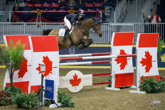 2016 Canadian Olympian Amy Millar of Perth, ON, and Heros placed second in the opening round of the $100,000 Greenhawk Canadian Show Jumping Championship on Friday, November 4, at the Royal Horse Show. Photo by Ben Radvanyi Photography (CNW Group/Royal Agricultural Winter Fair)