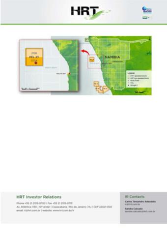 """Petroleum Exploration License 23 (""""PEL-23""""), in the Walvis Basin, offshore Republic of Namibia (CNW Group/HRT Participações em Petróleo S.A.)"""