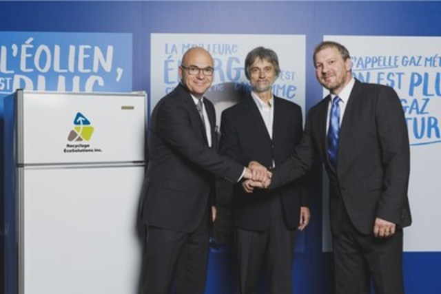 From left to right : Vincent Pouliot, Carbon Market and Energy Efficiency Manager, Gaz Métro; Arnorld Ross, Technical Director, Recyclage ÉcoSolutions; Mathieu Fillion, Executive Director, Recyclage Écosolutions. (CNW Group/Gaz Métro)