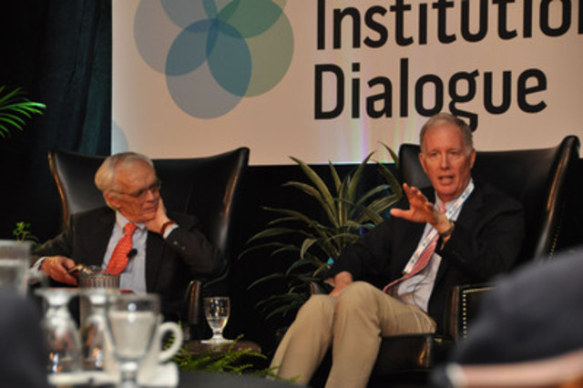 """Founding President and CEO of the Ontario Teachers' Pension Plan Claude Lamoureux interviews Jim Leech at the 2014 Annual Meeting of the Niagara Institutional Dialogue."" (CNW Group/Niagara Institutional Dialogue)"