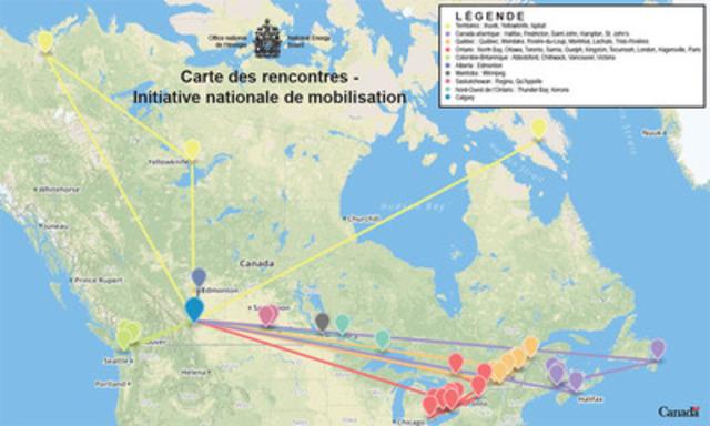 Carte des rencontres - Initiative nationale de mobilisation (Groupe CNW/Office national de l'énergie)