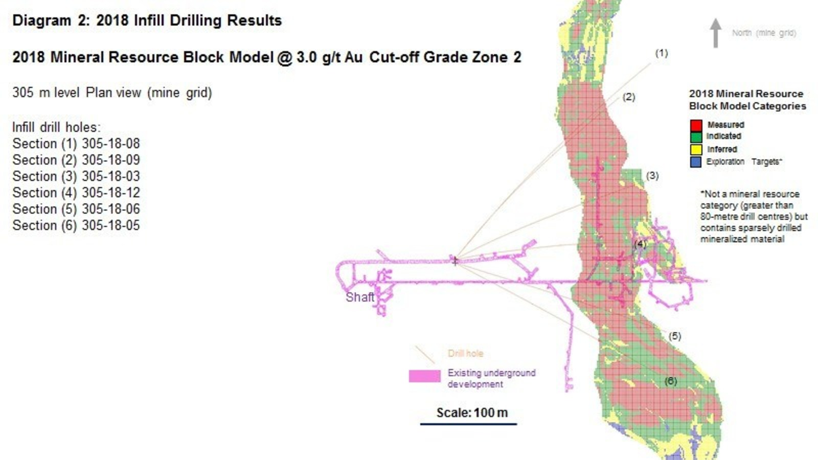 Diagram 2 : 2018 Infill Drilling Results - 2018 Mineral Resource Block Model @ 3.0 g/t Au Cut-off Grade Zone 2