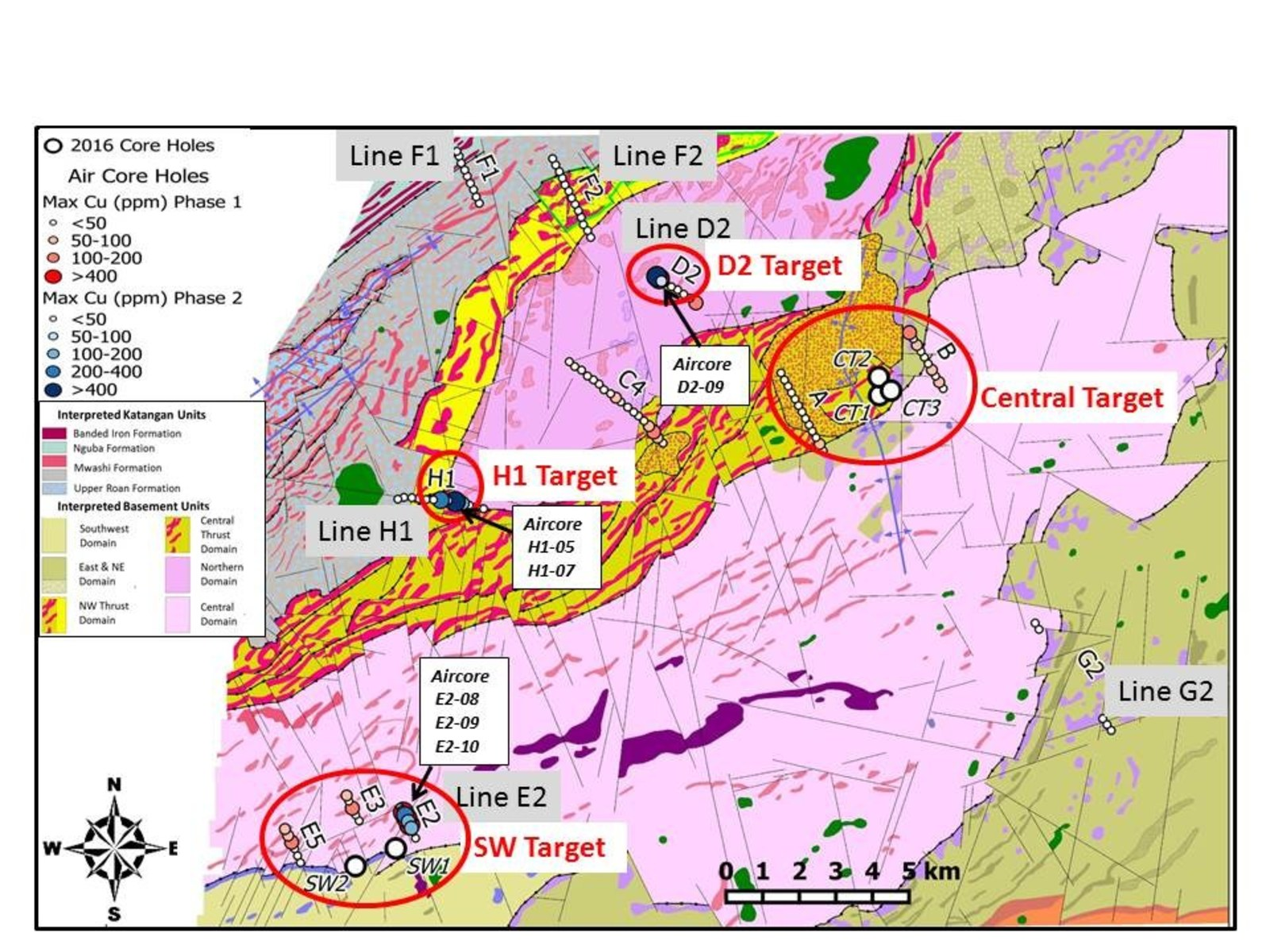 Figure 2: Plan View of Phase 1 & 2 Aircore Results & Licence Scale Magnetic Interpretation of Bedrock Geology