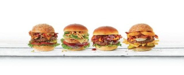ACE Bakery's Old Faithful Burger, ACE Bakery's Hot Chick Burger, ACE Bakery's Bangin' BBQ Burger, ACE Bakery's House Of Carbs Burger. (CNW Group/ACE Bakery)