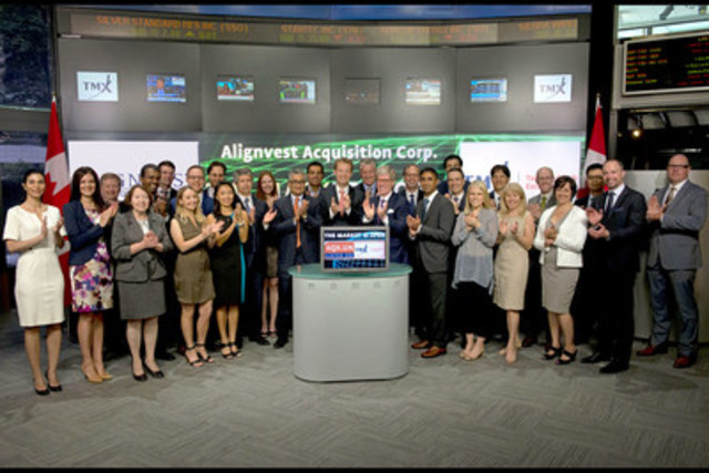 Reza Satchu, President & CEO & Timothy Hodgson, Chairman, Alignvest Acquisition Corporation (AQX.UN) joined Richard Rohan, VP Corporate Sales, TMX Equity Transfer Services to open the market. Alignvest Acquisition Corporation is a newly organized special purpose acquisition corporation (SPAC) incorporated under the laws of the Province of Ontario for the purpose of effecting a Qualifying Acquisition. Alignvest Management Corporation is the sponsor of Alignvest Acquisition. Alignvest is an alternative investment management firm created with the founding principle of increasing alignment between asset managers and their clients. Alignvest Acquisition Corporation commenced trading on June 24, 2015. For more information please visit www.alignvest.com. (CNW Group/TMX Group Limited)