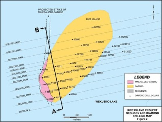 Figure 2: RICE ISLAND PROJECT - GEOLOGY AND DIAMOND DRILLING MAP (CNW Group/Wolfden Resources Corporation)