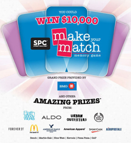 SPC Card's back-to-school promotion, Make Your Match, involves a memory game where students can win thousands of prizes. (CNW Group/Student Price Card Ltd.)
