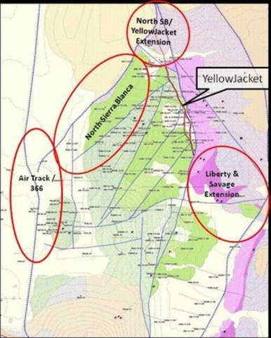 Figure 2: Geologic map of the Sierra Blanca Area outlining some of the key target areas to be tested in the 2015 phase II drilling program. (CNW Group/Corvus Gold Inc.)