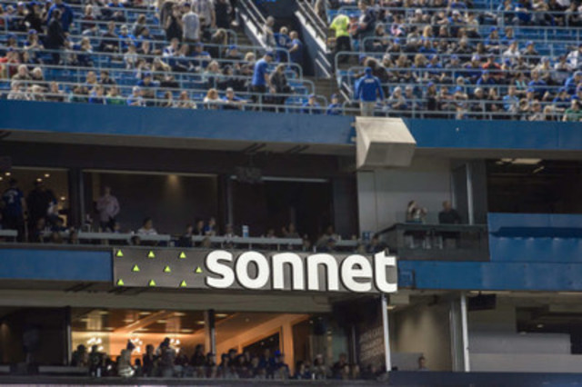 The Sonnet marquee sign appears in left field, above the Jays Care Community Clubhouse (CNW Group/Sonnet)