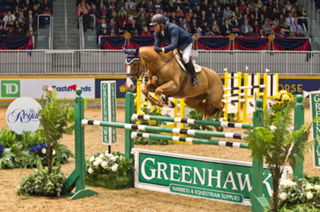 Yann Candele guided Showgirl to victory in the opening round of the Greenhawk Canadian Cup tonight, on opening night of the 91st Royal Horse Show at the Ricoh Coliseum. (CNW Group/Royal Agricultural Winter Fair)