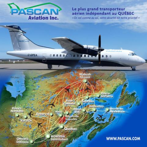 ATR-42 et la carte des destinations desservies par notre entreprise (Groupe CNW/Pascan Aviation inc.)