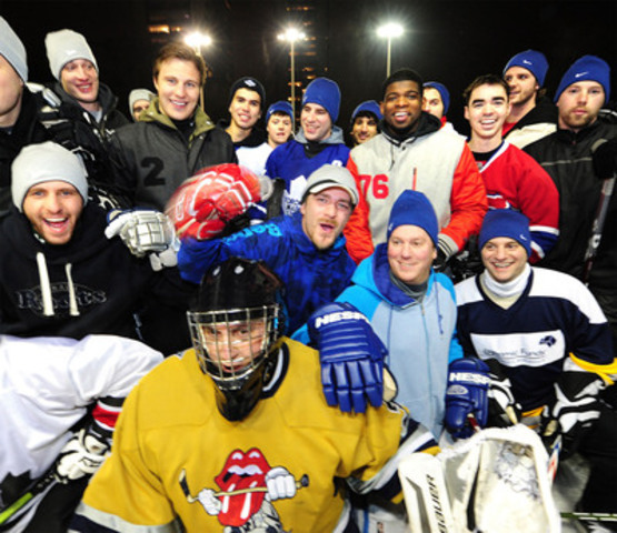 Ahead of Saturday's game, Toronto Maple Leaf Luke Schenn and Montreal Canadien P.K. Subban emerged from a travelling Nike truck Friday night surprising local hockey fans at Ramsden Park with an impromptu shinny match. The truck's future surprise stops will be announced on Twitter via @ClutchTheTruck. (CNW Group/Nike Canada Ltd.)