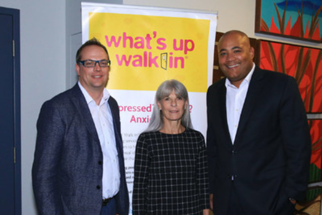 David O'Brien, Lead Agency Network Manager for 'What's up' walk in®, Claire Fainer, Executive Director, East Metro Youth Services, and the Honourable Michael Coteau, Minister of Children and Youth Services attend the 'What's up' walk in® clinic expansion celebration at YouthLink. (CNW Group/East Metro Youth Services)