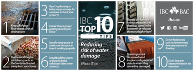 IBC Top 10: Tips for reducing your risk of water damage (CNW Group/Insurance Bureau of Canada)