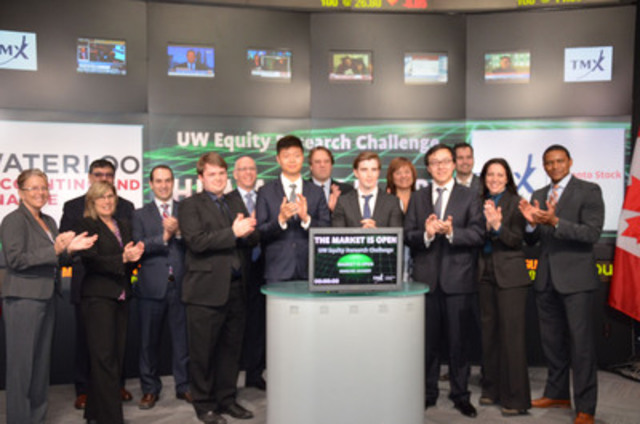 Sponsors, judges, faculty, and the winning team of the School of Accounting and Finance's 2014 Equity Research Challenge join together to open the Toronto Stock Exchange (CNW Group/University of Waterloo)