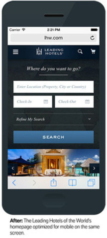 "After: The Leading Hotels of the World's homepage optimized for mobile on the same screen (4"" iPhone screen). (CNW Group/Mobify)"