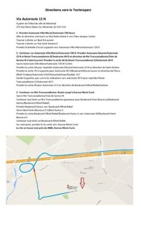 Directions Technoparc Via Autoroute 15 (Groupe CNW/Vidéotron)