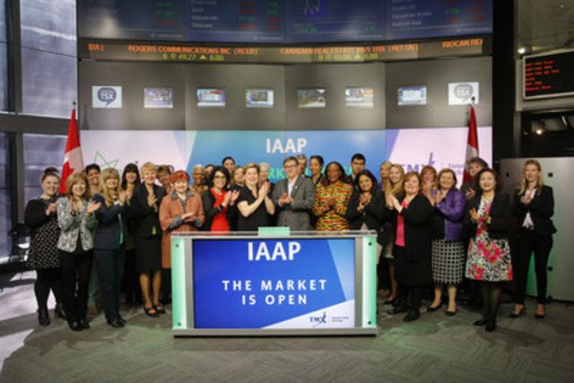 International Association of Administrative Professionals (IAAP) joined Jean Desgagne, President and CEO, Global Enterprise Services, TMX Group to open the market to mark Administrative Professionals Week, April 24-30. Administrative Professionals Week celebrates and sheds light on administrative professionals' skills and valued work. Founded in 1942, IAAP is a not-for-profit professional association which strives to ensure individuals working in office and administrative professions have the opportunity to connect, learn, lead and excel. For more information, please visit http://www.iaap.ca/home (CNW Group/TMX Group Limited)