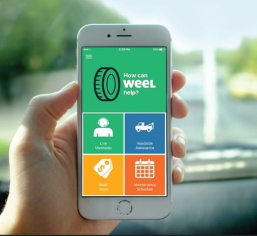 """Digital car care platform WeeL (www.getweel.com) launches in Toronto. Its user-friendly app offers direct access to trained technicians for on-demand advice, 24/7 Roadside Assistance, and a suite of """"WeeL Deals"""" including an exclusive at-home service deal for members--  in time for drivers' annual winter-tire change. (CNW Group/WeeL)"""
