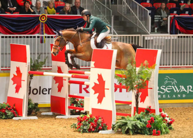 Ireland's Conor Swail guided Game Ready to the win in the $33,000 Jolera International Jumper Welcome tonight at the CSI4*-W Royal Horse Show, Toronto. Photo Credit: Ben Radvanyi (CNW Group/Royal Agricultural Winter Fair)