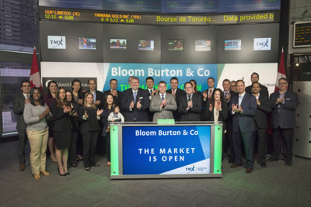 Brian Bloom, President, Bloom Burton & Co., joined Michael Kousaie, Head, Business Development, Technology, Toronto Stock Exchange and TSX Venture Exchange, to open the market to mark Bloom Burton & Co.'s fifth annual Healthcare Investor Conference. The conference takes place in Toronto on May 2 and 3 and will bring together investors interested in the latest developments in Canadian healthcare companies. Bloom Burton & Co. is a Canadian healthcare-specialized investment banking group. (CNW Group/TMX Group Limited)