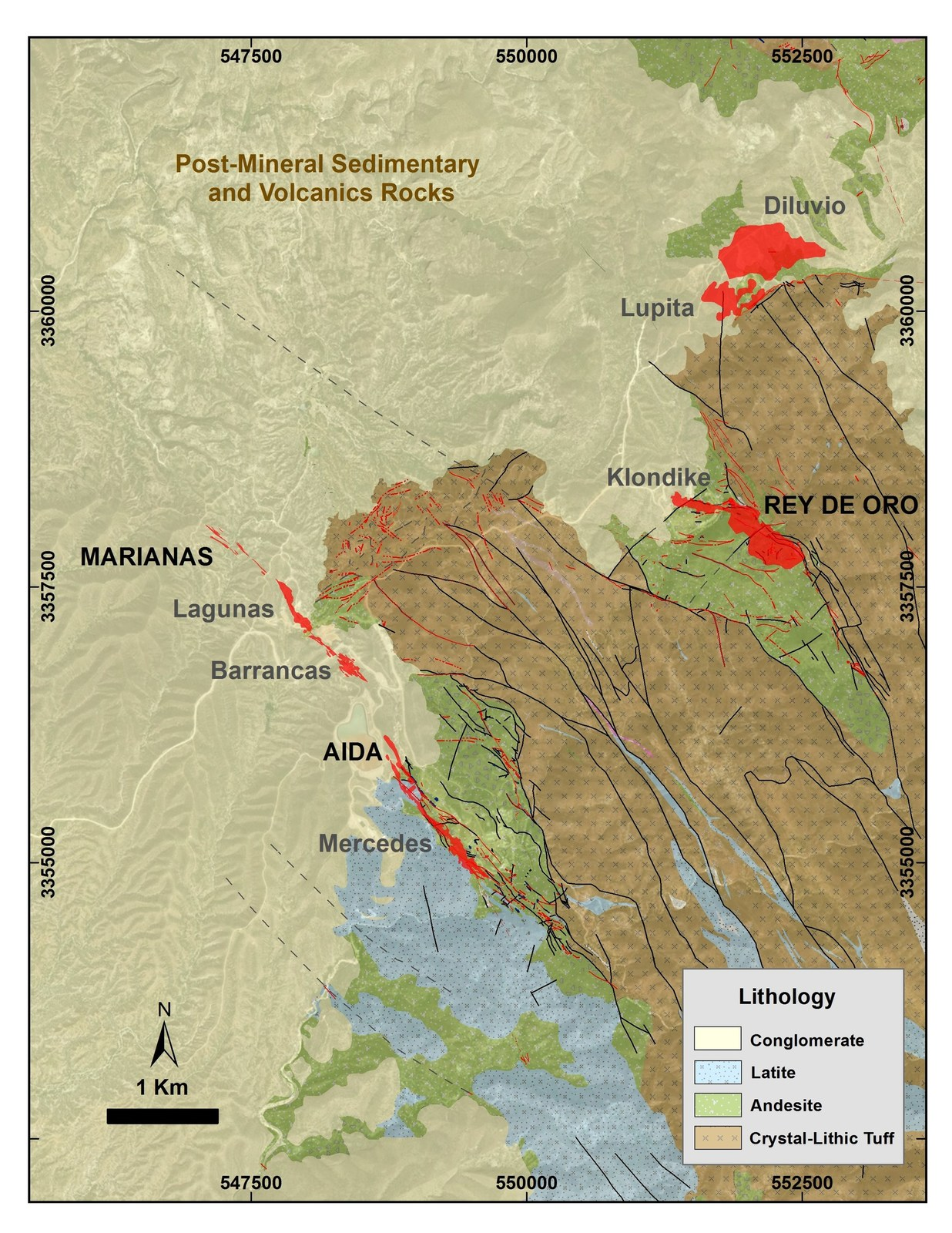 Figure 1: Mercedes regional geology map showing in red the principal gold-bearing veins. 2018 Target Areas are written in black and main deposits in grey.