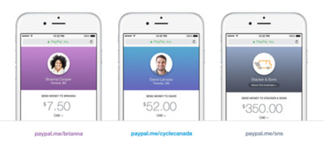 PayPal.Me your personal link to get paid back easily (CNW Group/PayPal Canada)