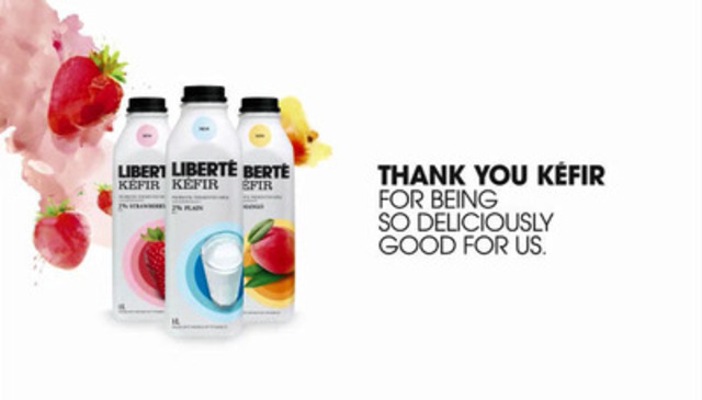 Video: Liberté launches its newest variety of Liberté Kéfir probiotic fermented milk, delivering real taste with real benefits to all Canadians. Now available in the conventional dairy aisle at supermarkets across Canada, Liberté Kefir can be enjoyed in three tasty flavours: strawberry, mango and plain.