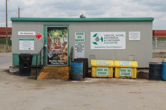 Saskatchewan has nearly 200 year-round collection facilities including 35 purpose-built EcoCentres. A messy business but it can be tidy and creative as seen at the Saskatoon EcoCentre.  All EcoCentres will receive new signage and one of six Mother Nature door decals this summer. (CNW Group/Saskatchewan Association for Resource Recovery Corp. (SARRC))