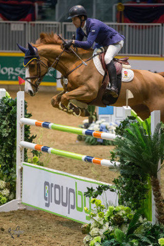 Conor Swail of Ireland claimed victory in the $35,000 Jolera International Jumper Welcome riding Martha Louise on Tuesday evening, November 10, at the 2015 Royal Horse Show® in Toronto, ON. (CNW Group/Royal Agricultural Winter Fair)