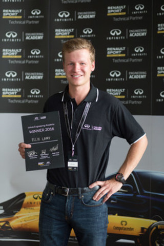 21-year-old McGill University student Felix Lamy awarded a one-year placement with INFINITI Motor Company and the Renault Sport Formula One™ Team. (CNW Group/Infiniti)