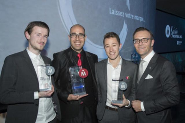 Wolf Kohlberg, ShartheBus -  Winners of Prix Montréal inc. 2016 : Martin Roldan, Phazon - Philippe Poirier, Wilder & Harrier - Guy Cormier, President and CEO of Desjardins Group (CNW Group/Fondation Montréal inc.)