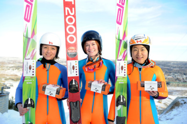 With the support of lead sponsor Lesley Stowe Fine Foods Ltd., Canadian women's ski jumping team members Alexandra Pretorius, Taylor Henrich and Atsuko Tanaka will be soaring to new heights at the first Olympic women's ski jumping events. (CNW Group/Lesley Stowe Fine Foods)