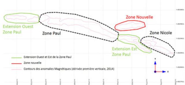 Localisation des zones et du potentiel de ressources ciblé. Les contours en pointillé noir représentent les secteurs avec ressources minérales estimées. (Groupe CNW/Arianne Phosphate Inc.)