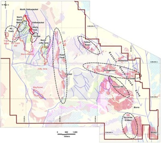 Figure 1. North Bullfrog 2015 exploration target map (CNW Group/Corvus Gold Inc.)