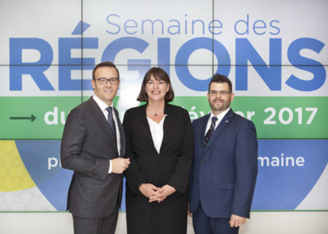 Guy Cormier, President and CEO of Desjardins Group to serve as honorary chair of the 2017 edition of Semaine des régions, accompanied by Cynthia Rivard, President of PAJR and Mathieu Vigneault, Director of PAJR. (CNW Group/Place aux jeunes en région)