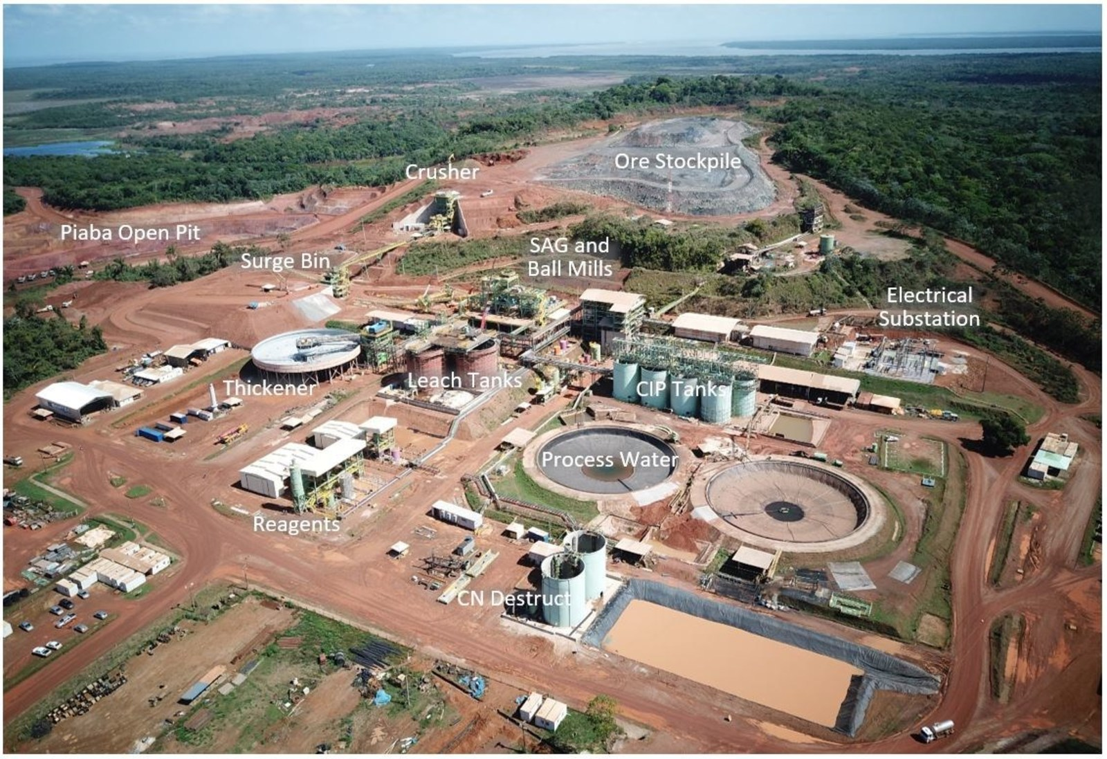 Aerial view of Aurizona plant and and ore stockpile