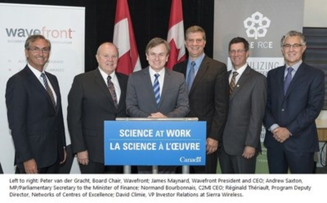 Left to right: Peter van der Gracht, Board Chair, Wavefront; James Maynard, Wavefront President and CEO; Andrew Saxton, MP/Parliamentary Secretary to the Minister of Finance; Normand Bourbonnais, C2MI CEO; Réginald Thériault, Program Deputy Director, Networks of Centres of Excellence; David Climie, VP Investor Relations at Sierra Wireless. (CNW Group/Centre de Collaboration MiQro Innovation (C2MI))