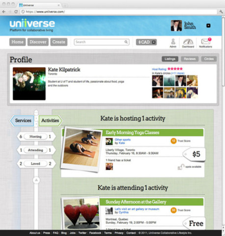 A user's Uniiverse profile, displaying activities and services being hosted, attended, or loved by the user (CNW Group/Uniiverse)