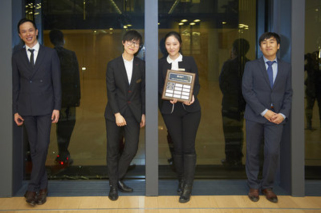 Left to Right: Johnny Wu, Nicole Jiang, Yuying Ren and Michael Kim (CNW Group/CFA Society Toronto)