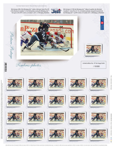 Canada Post unveiled three Winnipeg Jets™ Picture Postage™ stamps to help celebrate the return of the National Hockey including the first goal scored on home ice at the MTS Centre by Jets player Nik Antropov on October 9, 2011. (CNW Group/Canada Post)