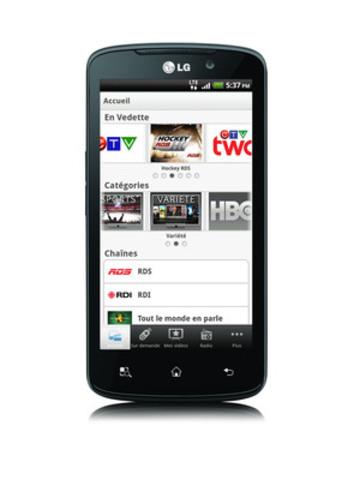 LG Optimus LTE avec la Télé mobile de Bell (Groupe CNW/BELL CANADA)