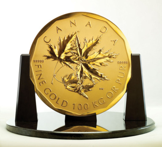 The Royal Canadian Mint's 100 kg Gold Maple Leaf bullion $1-million coin valued at more than $5 million, is making its first Metro Toronto appearance at the Canadian PMX gallery showroom in Richmond Hill, ON. on November 3, 2011. (CNW Group/Royal Canadian Mint) (CNW Group/Canadian PMX)