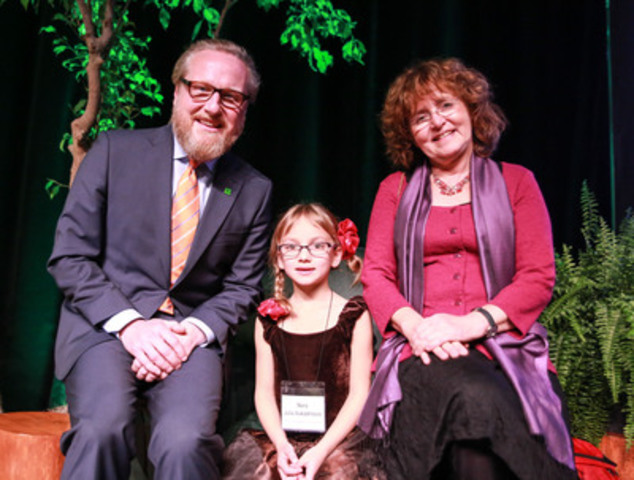Alec Morley, Senior Vice President, TD Bank Group and Nora Julia Vukadinovic present children's author Marie-Louise Gay with the CBC-TD Fan Choice Award at the 2015 TD Canadian Children's Literature Awards gala in Toronto. (CNW Group/TD Bank Group)