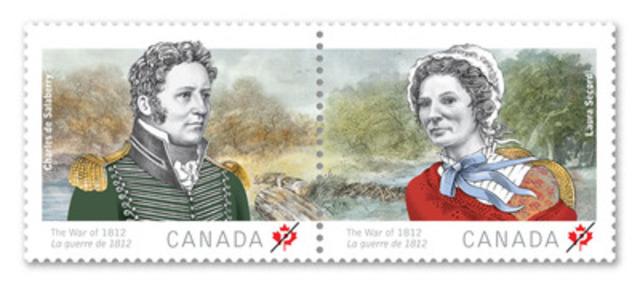 Postes Canada a dévoilé aujourd'hui deux timbres qui soulignent l'héroïsme de Laura Secord et Charles de Salaberry, la seconde émission d'une série qui marque le bicentenaire de la guerre de 1812. (Groupe CNW/Postes Canada)