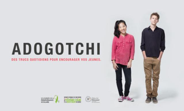 Disponible dès le 16 février, l'application Adogotchi, développée par lg2, permettra d'encourager votre adolescent virtuel et de tester vos connaissances en lien avec la persévérance scolaire (Groupe CNW/Réunir Réussir (R2))